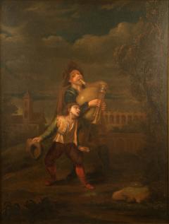 Hendrick Frans Diamer Hendrick Frans Diamer Flemish c 1690 1770 A piper and his companion  - 2130898