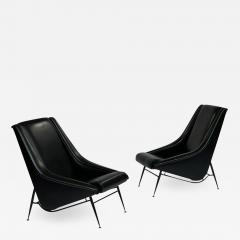 Henri Caillon Pair 1960s French Lounge Chairs by Henri Caillon for Erton - 1994383