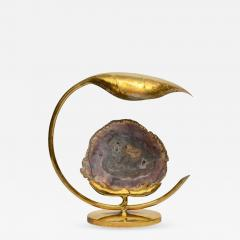Henri Fernandez Brass Leaf and Petrified Wood Sculptural Table Lamp by Henri Fernandez - 729468