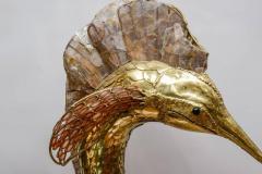 Henri Fernandez Unique Brass Mica and Marble Swordfish Lightning Sculpture - 729440