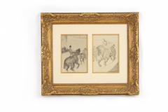 Henri de Toulouse Lautrec Lautrec Pencil Drawing Diptych of Figures Riding Horses in a Gilt Frame - 1577123