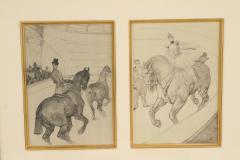Henri de Toulouse Lautrec Lautrec Pencil Drawing Diptych of Figures Riding Horses in a Gilt Frame - 1577125