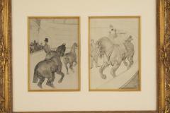 Henri de Toulouse Lautrec Lautrec Pencil Drawing Diptych of Figures Riding Horses in a Gilt Frame - 1577126