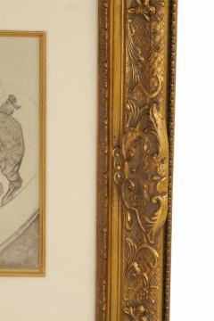 Henri de Toulouse Lautrec Lautrec Pencil Drawing Diptych of Figures Riding Horses in a Gilt Frame - 1577129
