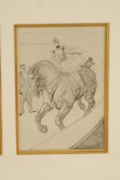 Henri de Toulouse Lautrec Lautrec Pencil Drawing Diptych of Figures Riding Horses in a Gilt Frame - 1577132