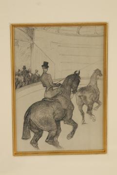 Henri de Toulouse Lautrec Lautrec Pencil Drawing Diptych of Figures Riding Horses in a Gilt Frame - 1577133