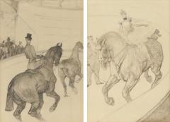 Henri de Toulouse Lautrec Lautrec Pencil Drawing Diptych of Figures Riding Horses in a Gilt Frame - 1577154