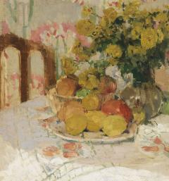 Henriette Amiard Oberteuffer Still Life with Fruit and Flowers c 1920 - 75033