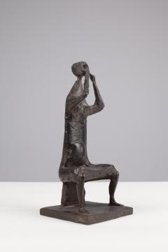 Henry Cliffe Henry Cliffe Bronze Seated Female Musician - 448515