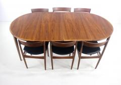 Henry Rosengren Hansen Scandinavian Modern Teak Dining Table Chairs Designed by Rosengren Hansen - 1154484