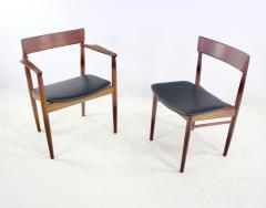 Henry Rosengren Hansen Scandinavian Modern Teak Dining Table Chairs Designed by Rosengren Hansen - 1154487