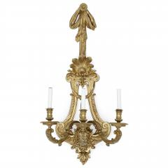 Henry Vian Two large French ormolu three branch wall sconces by H Vian - 1433281