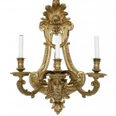 Henry Vian Two large French ormolu three branch wall sconces by H Vian - 1433282