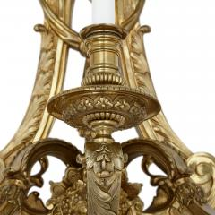 Henry Vian Two large French ormolu three branch wall sconces by H Vian - 1433284