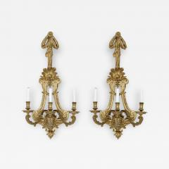 Henry Vian Two large French ormolu three branch wall sconces by H Vian - 1434027