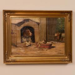 Herman Friedrich Funch Original Antique Barnyard Oil Painting With Guard Dog by Herman Funch - 1068324
