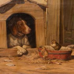 Herman Friedrich Funch Original Antique Barnyard Oil Painting With Guard Dog by Herman Funch - 1068325
