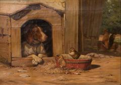 Herman Friedrich Funch Original Antique Barnyard Oil Painting With Guard Dog by Herman Funch - 1069048