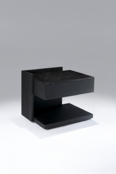 Herv Langlais EQUERRE BEDSIDE TABLE CHARRED WOOD  - 788895