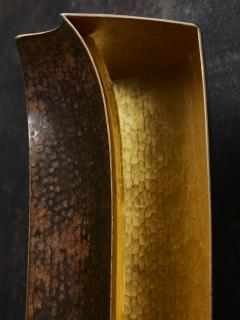 Herv Wahlen Two Pairs of Unique Herve Wahlen Hammered Copper and Gold Leaf Wall Sconces - 1945421