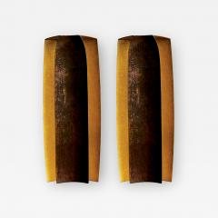 Herv Wahlen Two Pairs of Unique Herve Wahlen Hammered Copper and Gold Leaf Wall Sconces - 1947249