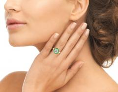 Hexagonal Diamond and Emerald Ring - 1097160