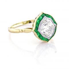Hexagonal Diamond and Emerald Ring - 1097163