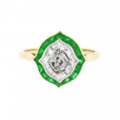Hexagonal Diamond and Emerald Ring - 1097203