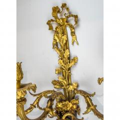 High Quality Pair of Louis XVI Style Gilt and Patinated Bronze Wall Sconces - 1442095