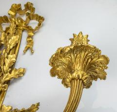 High Quality Pair of Louis XVI Style Gilt and Patinated Bronze Wall Sconces - 1442102