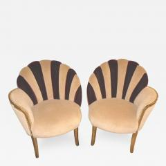 High Style Art Deco Fan Backed Side Chairs - 299508