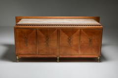 High end Credenza in oak bronze and marble 1930s - 1638198