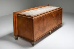 High end Credenza in oak bronze and marble 1930s - 1638199