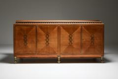 High end Credenza in oak bronze and marble 1930s - 1638200