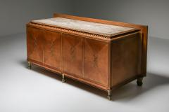 High end Credenza in oak bronze and marble 1930s - 1638201
