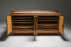 High end Credenza in oak bronze and marble 1930s - 1638203