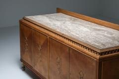 High end Credenza in oak bronze and marble 1930s - 1638204