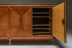 High end Credenza in oak bronze and marble 1930s - 1638205