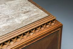 High end Credenza in oak bronze and marble 1930s - 1638207