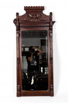 Highly Carved Mahogany Wood Framed Hanging Wall Mirror - 1038025
