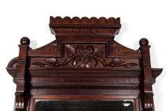 Highly Carved Mahogany Wood Framed Hanging Wall Mirror - 1038026