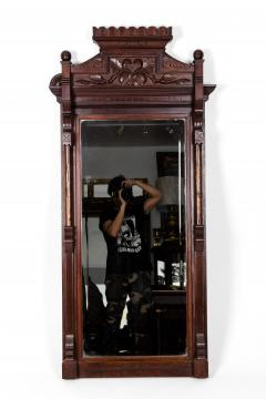 Highly Carved Mahogany Wood Framed Hanging Wall Mirror - 1038034