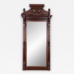 Highly Carved Mahogany Wood Framed Hanging Wall Mirror - 1039750