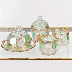 Highly decorative Continental cut glass table set detailed in green and gold - 1272524