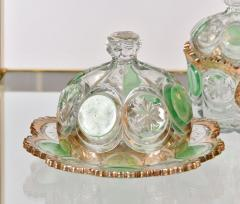 Highly decorative Continental cut glass table set detailed in green and gold - 1272563