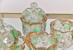 Highly decorative Continental cut glass table set detailed in green and gold - 1272564
