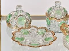 Highly decorative Continental cut glass table set detailed in green and gold - 1272565