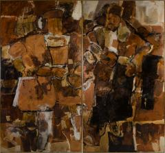 Hilda O Connell Abstract Expressionist Diptych by Hilda OConnell 1965 - 334538