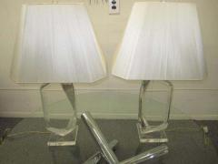 Hivo G Van Teal Stunning Pair of Mid Century Modern Faceted Lucite Lamps Signed by Van Teal - 1843537