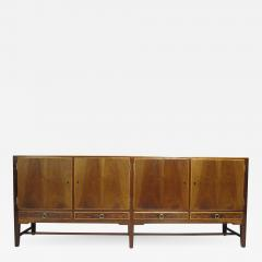 Holger Christiansen 1930 Danish Walnut Credenza with Brass Pulls - 1080418